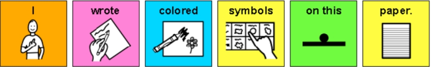 "The phrase ""I wrote colored symbols on this paper"" using color-coded picture communication symbols"