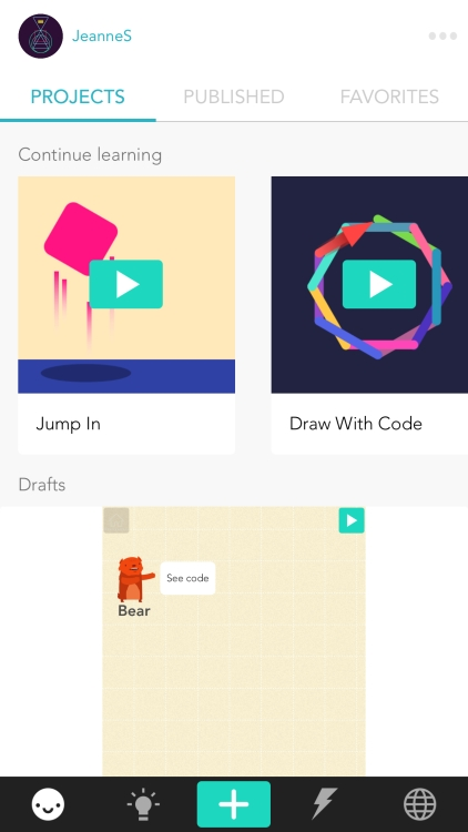 "projects tab shows video tutorials and draft projects -- the picture of shape on the ""Draw with Code"" tutorial's opening screen is much more elaborate than the simple square that the tutorial actually makes"