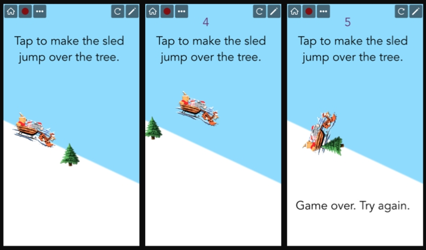 3 photos: #1 is sledder approaching tree, #2 is sledder leaping over tree, #3 is sledder crashing into tree. Game over.
