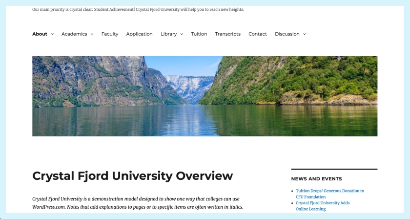 click on this picture to go to the Crystal Fjord University website. The picture shows a portion of the landing page, including a river cutting through mountains fjord style.