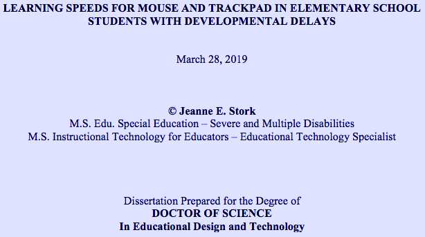 cover page for Jeanne Stork's paper Learning Speeds for Mouse and Trackpad in Elementary School Students with Developmental Delays